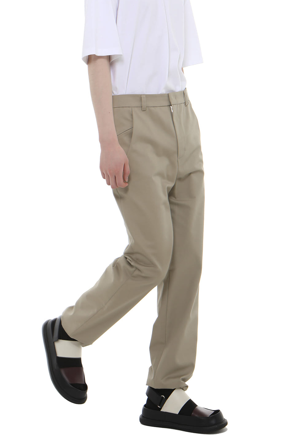 P010 / Strap Cotton Beige Pants