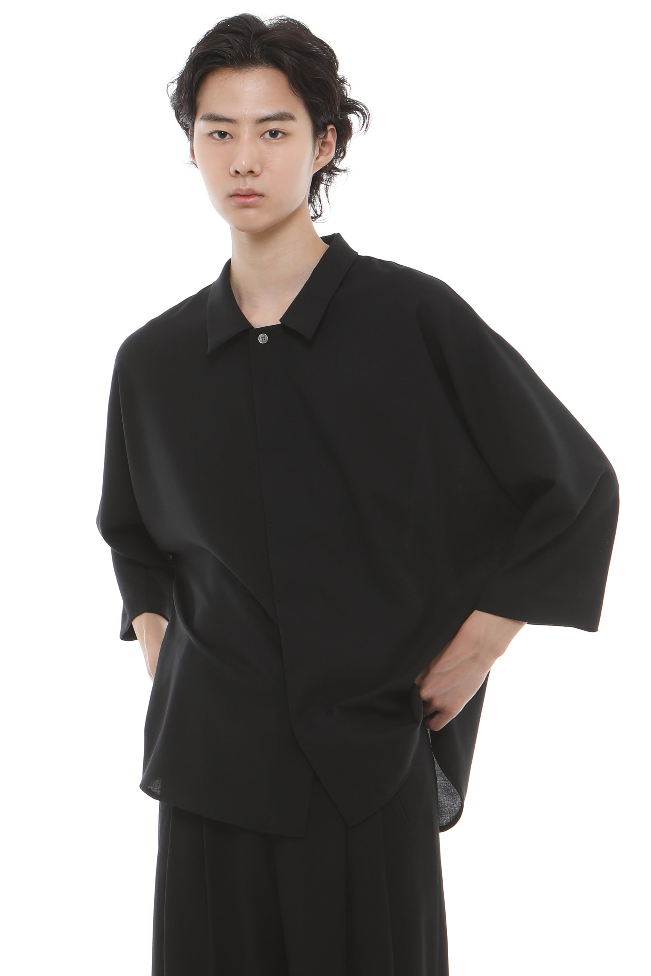 S008 / Summer Wool Layered Black Shirts