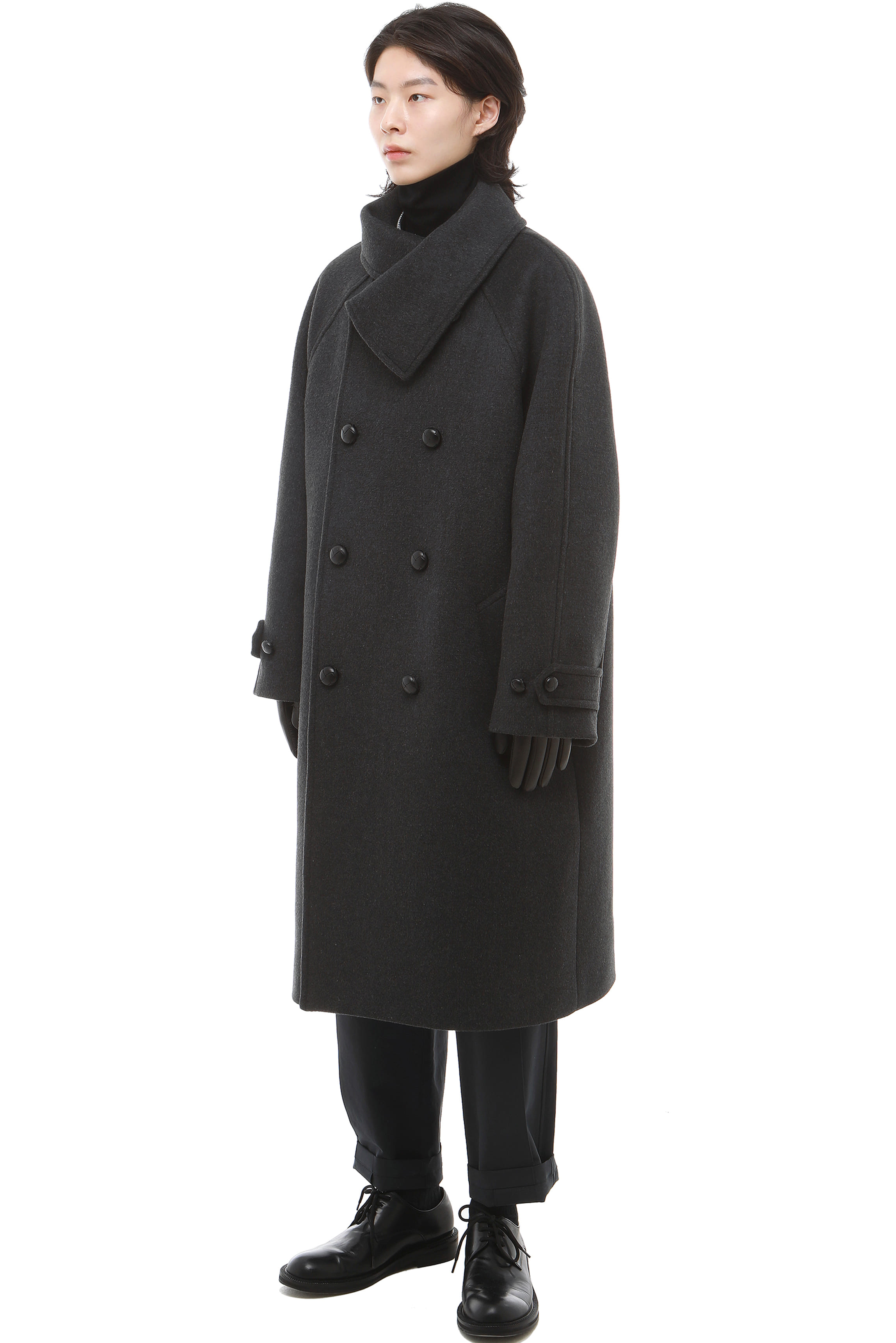 C003 / High neck Cashmere Raglan Coat