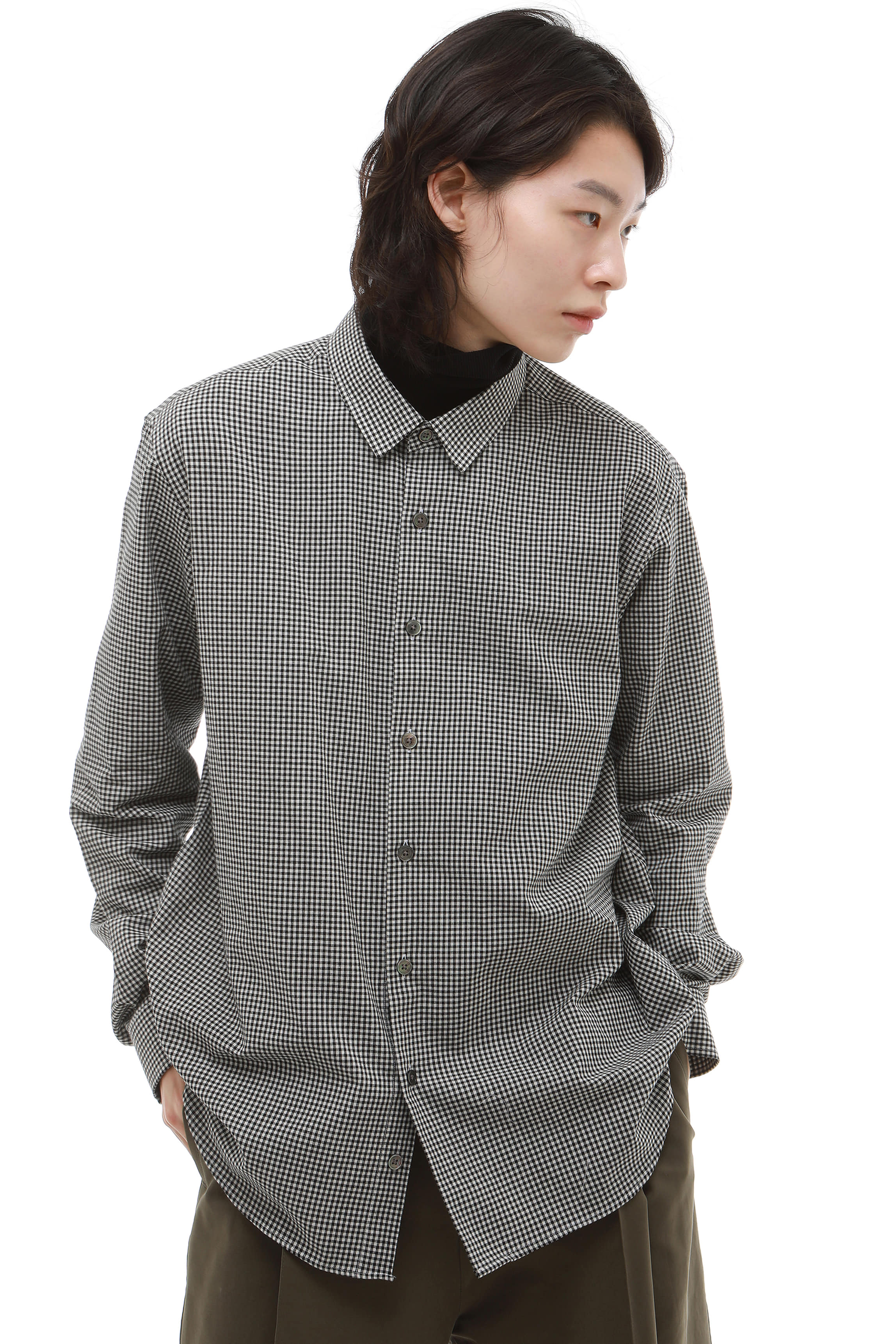S007 / Black Check Short Collar Shirts