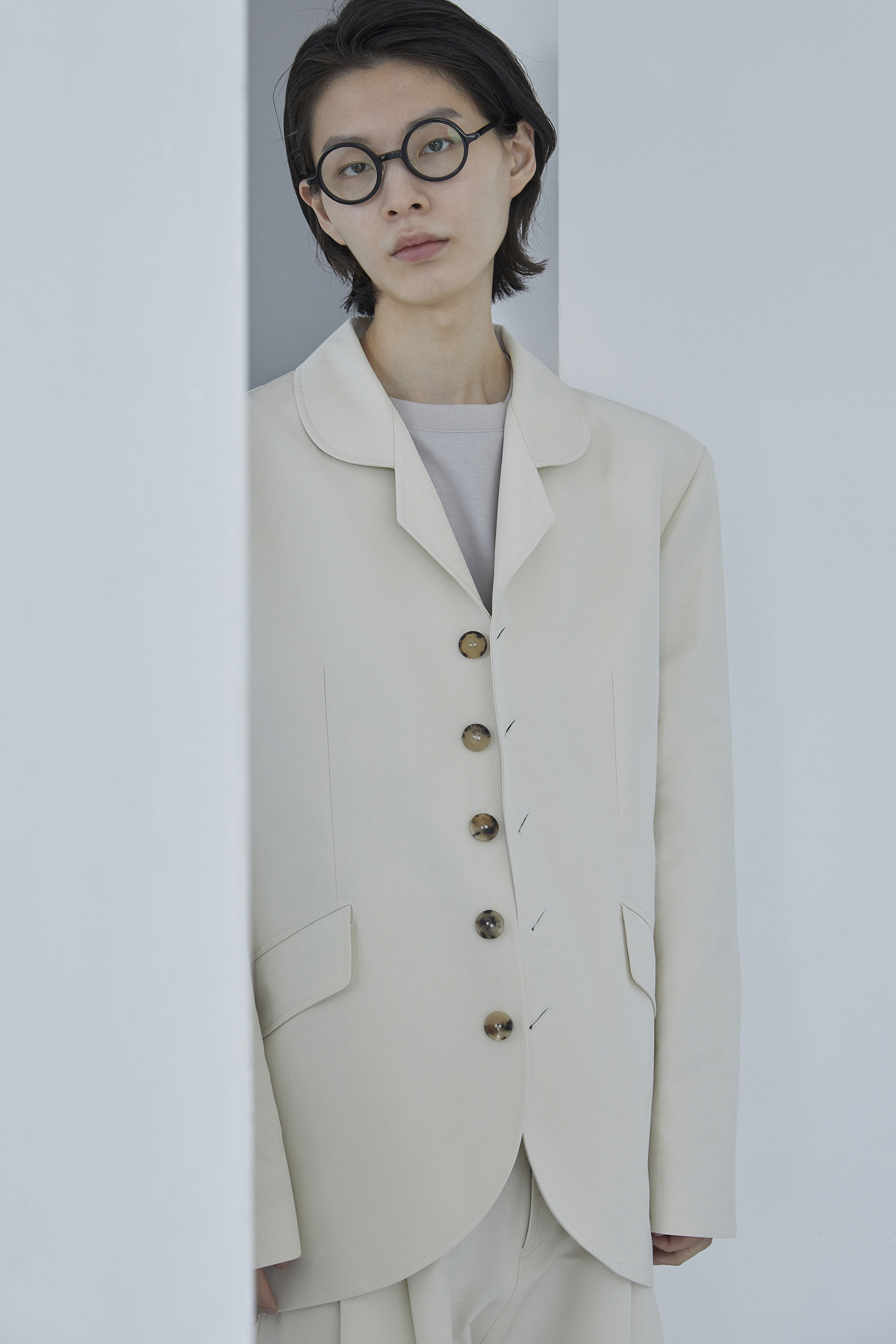 J005 / Cream 5Button Pajamas Jacket