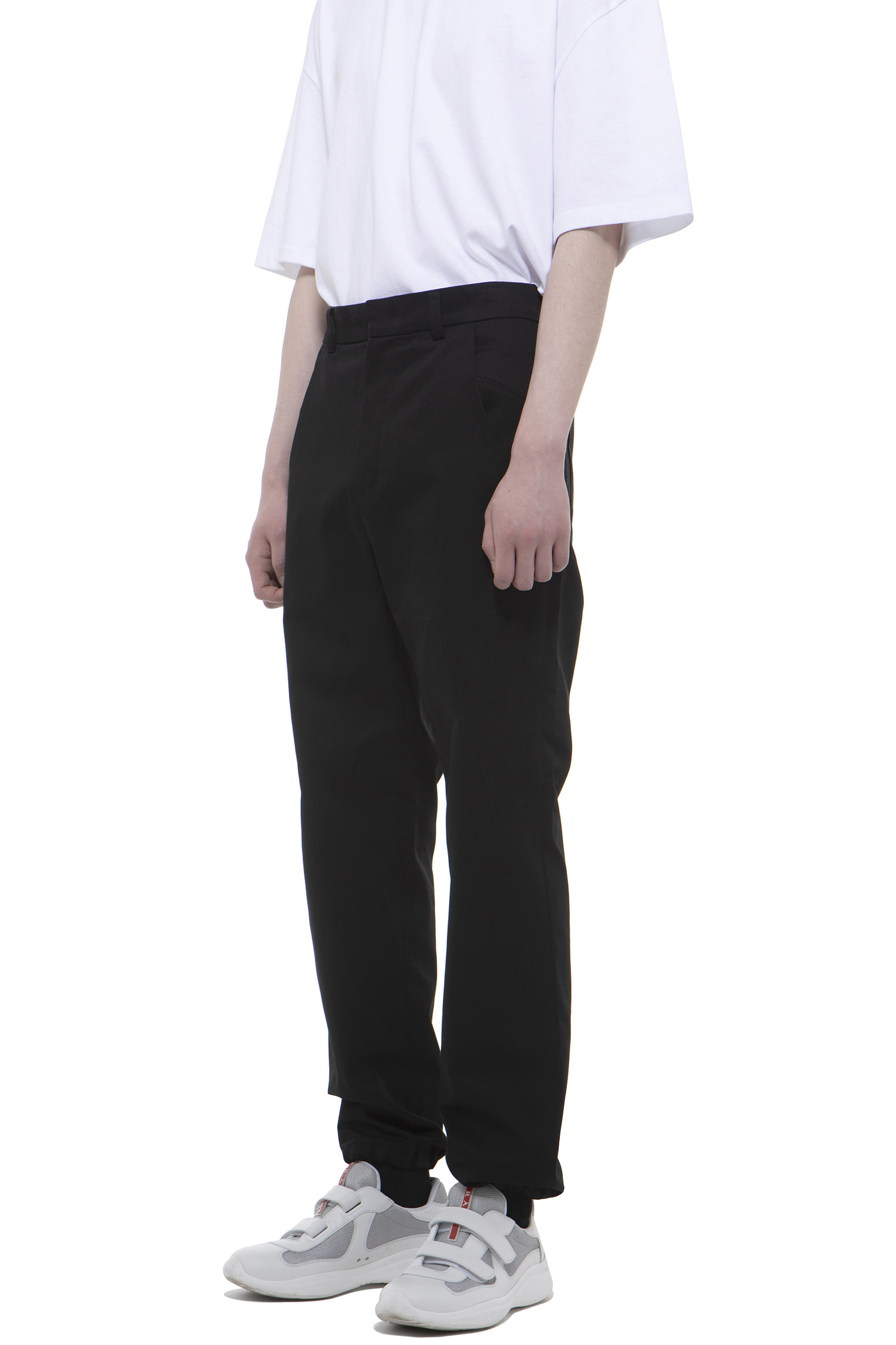 P010 / Strap Cotton Black Pants