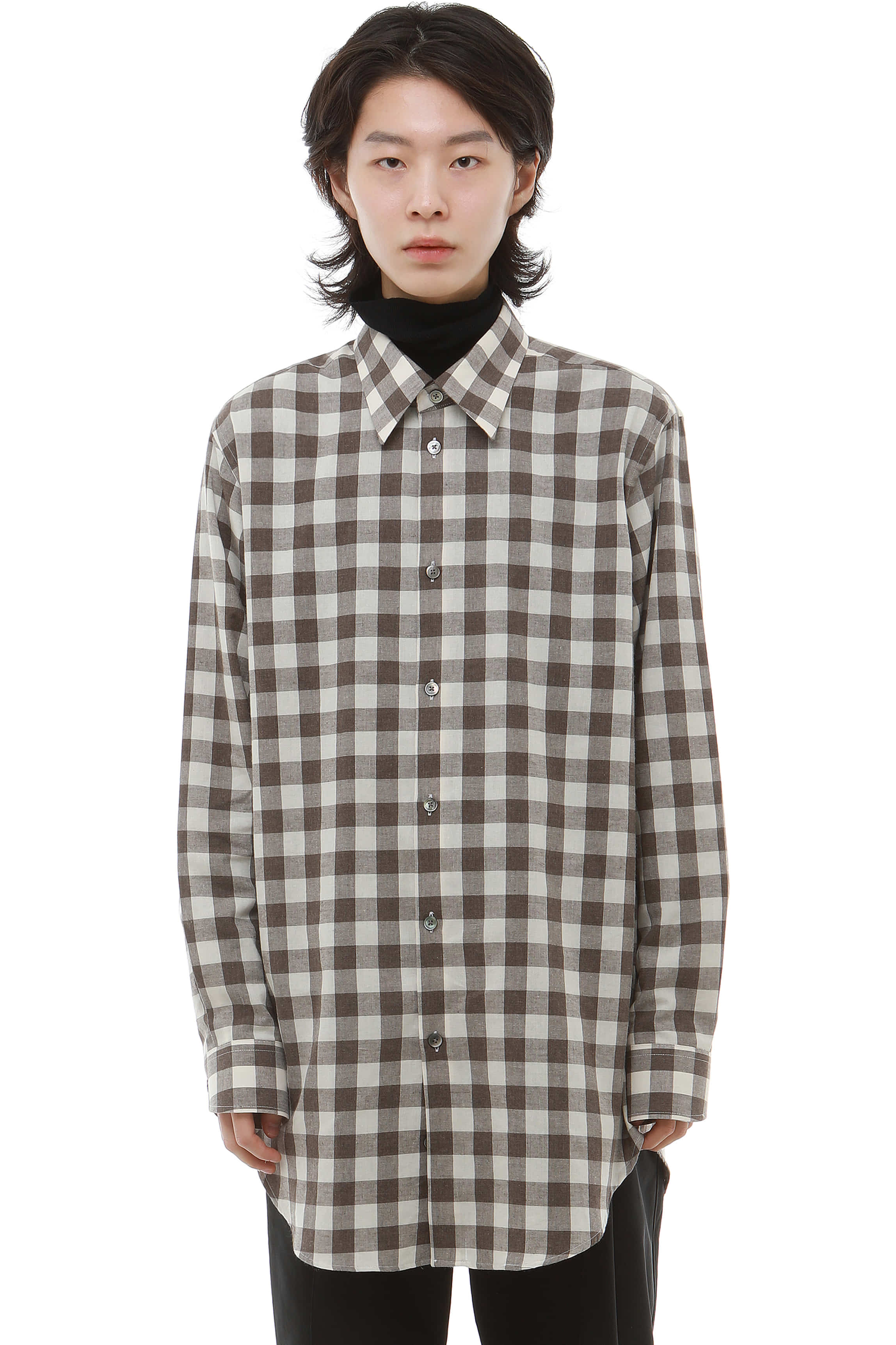 S006 / Brown Check Long Shirts