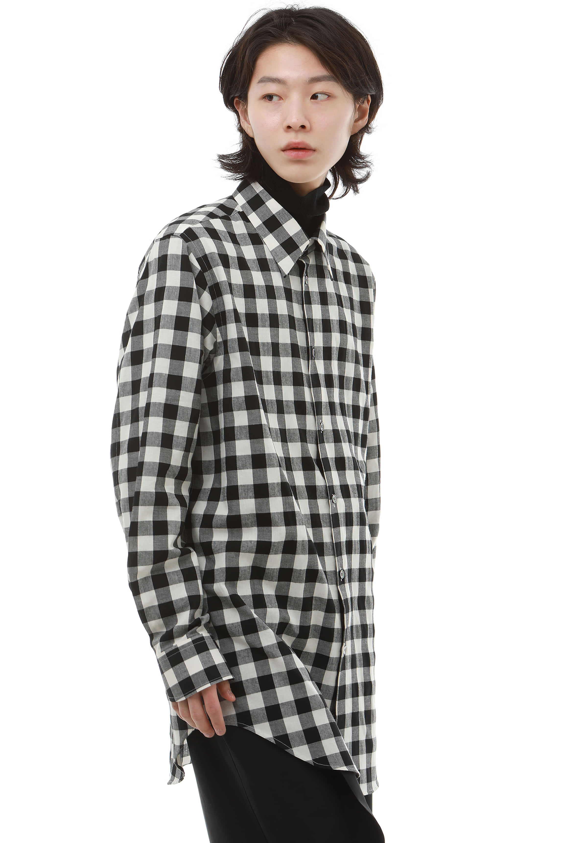 S006 / Black Check Long Shirts